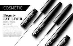 Gli annunci premio dell'eye-liner deridono su fondo bianco molle Pubblicità eccellente dei cosmetici Immagini Stock