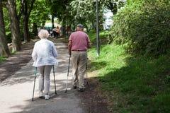 Gli anziani felici potenti stanno camminando con l'escursione dei bastoni, canne Fotografia Stock