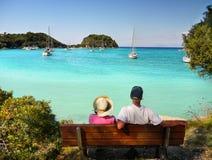 Gli anziani si accoppiano in vacanza Fotografia Stock Libera da Diritti