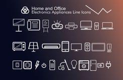 Gli apparecchi di elettronica dell'ufficio e della casa assottigliano le belle icone moderne Fotografia Stock