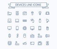Gli apparecchi elettronici vector la linea sottile mini icone messe griglia 24x24 Pixel perfetto Colpo editabile Fotografia Stock Libera da Diritti