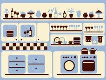 Gli articoli della cucina e gli oggetti domestici hanno impostato. Fotografie Stock