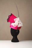 Gli articoli di modisteria rosa e crema corrono il cappello delle signore immagine stock libera da diritti