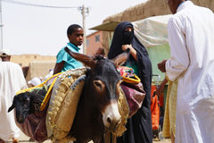 Gli asini della donna di un burqa del briciolo hanno parcheggiato nel souk della città di Rissani nel Marocco fotografia stock