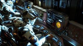 Gli astronauti sul suo veicolo spaziale che lavora ad un computer rappresentazione 3d illustrazione di stock