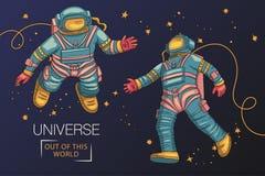 Gli astronauti volano nello spazio cosmico royalty illustrazione gratis