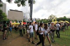 Gli attivisti 2015 di Hong Kong marciano davanti al voto sul pacchetto elettorale Fotografia Stock Libera da Diritti