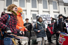 Gli attivisti hanno steccato l'ambasciata russa Fotografie Stock
