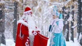 Gli attori si sono vestiti in costumi del nuovo anno che stanno nella foresta e che esaminano i regali in borsa video d archivio