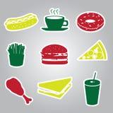 Gli autoadesivi degli alimenti a rapida preparazione hanno messo eps10 Illustrazione di Stock