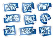 Gli autoadesivi di vendita hanno fissato - la grande vendita, il più grande risparmio, prezzo esclusivo Fotografia Stock