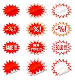 Gli autoadesivi di vendita hanno impostato Immagini Stock Libere da Diritti