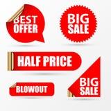 Gli autoadesivi di vendita hanno impostato Stile rosso moderno Vettore Fotografia Stock