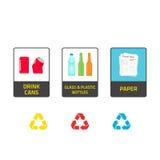 Gli autoadesivi per il riciclaggio dei bidoni della spazzatura vector l'illustrazione isolata su bianco Fotografie Stock