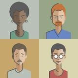 Gli avatar della femmina e maschii dei fronti hanno messo 01 illustrazione vettoriale