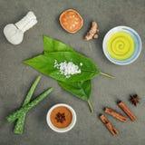 Gli avocado va con la curcuma degli ingredienti della stazione termale della natura, comp. di erbe Fotografia Stock Libera da Diritti