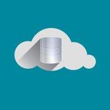 Gli azionamenti di stoccaggio firmano dentro l'icona piana di progettazione della nuvola Fotografia Stock