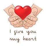 Gli dò il mio cuore Cuore a disposizione del concetto romantico del regalo per il giorno di biglietti di S. Valentino illustrazione vettoriale