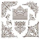 Gli elementi decorativi dei confini orientali degli ornamenti con gli angoli arriccia i modelli e la struttura arabi ed indiani Fotografia Stock