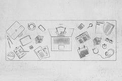Gli elementi dell'ufficio hanno confuso sullo scrittorio con il computer portatile ed il CEO schioccare della sedia fotografia stock