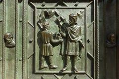 Gli elementi della decorazione sulla facciata della cattedrale dei san Vitus Fotografie Stock
