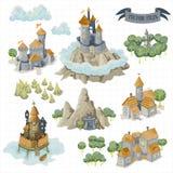 Gli elementi della mappa di avventura di fantasia e la mano variopinta di scarabocchio assorbono l'illustrazione isolata su fondo illustrazione di stock