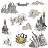 Gli elementi della mappa di avventura di fantasia e la mano variopinta di scarabocchio assorbono l'illustrazione isolata su fondo royalty illustrazione gratis