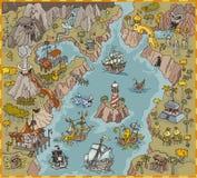 Gli elementi della mappa di vettore del pirata di fantasia abbaiano nell'illustrazione variopinta e nel tiraggio della mano del r illustrazione vettoriale