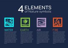 Gli elementi della natura 4 degli symblos della natura con acqua, fuoco, terra ed aria nel vettore quadrato della struttura proge illustrazione di stock