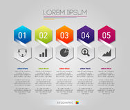 Gli elementi della struttura di favo di Infographic con le icone hanno messo sui precedenti grigi Modello moderno di affari del g Fotografia Stock Libera da Diritti