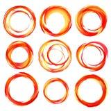 Gli elementi di disegno in arancia rossa colora le icone. Fotografia Stock Libera da Diritti