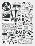 Gli elementi di film scarabocchia la linea disegnata a mano l'icona, eps10 Fotografia Stock