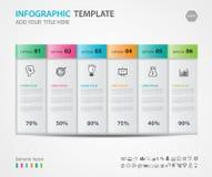 Gli elementi di Infographics diagram con 6 punti, le opzioni, l'illustrazione di vettore, 3d l'icona rettangolare, la presentazio Immagine Stock Libera da Diritti