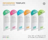 Gli elementi di Infographics diagram con 6 punti, le opzioni, l'illustrazione di vettore, 3d l'icona rettangolare, la presentazio Fotografia Stock Libera da Diritti