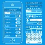 Gli elementi di UI blueprint il corredo di vettore di progettazione in d'avanguardia Fotografia Stock Libera da Diritti
