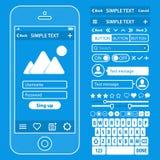 Gli elementi di UI blueprint il corredo di vettore di progettazione in d'avanguardia Immagine Stock