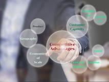 Gli elementi di vantaggi competitivi sullo schermo virtuale, presente Fotografie Stock