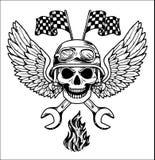 Gli elementi disegnati a mano stabiliti del motociclista di vettore riparano il motociclista Rider Freedom del motociclo del gara Immagini Stock Libere da Diritti