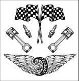Gli elementi disegnati a mano stabiliti del motociclista di vettore riparano il motociclista Rider Freedom del motociclo del gara Fotografia Stock Libera da Diritti