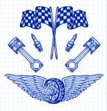 Gli elementi disegnati a mano stabiliti del motociclista di vettore riparano il motociclista Rider Freedom del motociclo del gara Fotografie Stock Libere da Diritti