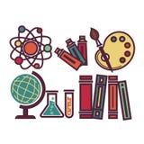 Gli elementi e le attrezzature della scuola hanno messo il manifesto di vettore nella progettazione grafica illustrazione vettoriale