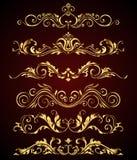 Gli elementi ed i confini d'annata dorati hanno messo per la decorazione decorata Fotografie Stock Libere da Diritti