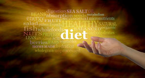 Gli elementi importanti della nuvola di parola di dieta Immagini Stock