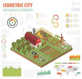Gli elementi isometrici piani del costruttore della mappa della terra e della città dell'azienda agricola 3d è Immagine Stock Libera da Diritti