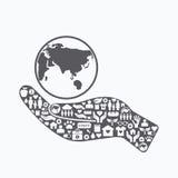 Gli elementi sono la piccole carità e donazione delle icone sulla mano della siluetta Fotografia Stock Libera da Diritti