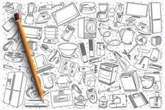 Gli elettrodomestici disegnati a mano hanno messo il fondo Fotografia Stock Libera da Diritti