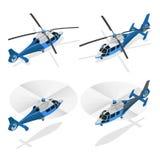 Gli elicotteri su 3d piano bianco- vector l'illustrazione isometrica Fotografia Stock