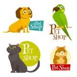 Gli emblemi delle etichette del negozio di animali hanno messo isolato su bianco, illustrazione di vettore del fumetto Immagine Stock Libera da Diritti