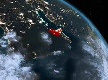 Gli Emirati Arabi Uniti alla notte dall'orbita Fotografia Stock Libera da Diritti