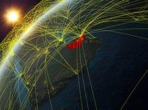 Gli Emirati Arabi Uniti su terra con la rete illustrazione vettoriale